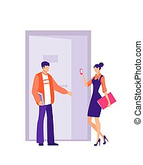 特徴, オフィス。, マレ, 丁寧, 女の子, 開く, 従業員, ドア, 手掛かり, employee.