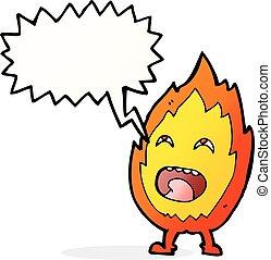 特徴, スピーチ泡, 漫画, 炎