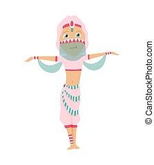 特徴, ダンサー, ベール, 腹, ∥あるいは∥, 衣装, ダンス, 光景, ベクトル, illustration., 東, 伝統的である, 東洋人, ダンス, アラビア, indian, 側, 美しい, 女の子