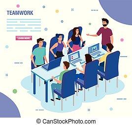特徴, チームワーク, avatar, 人々, ミーティング