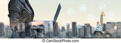 特徴, デジタルビジネス, 現実, ライフスタイル, 女性実業家, (, augmented, 見なさい、, ...