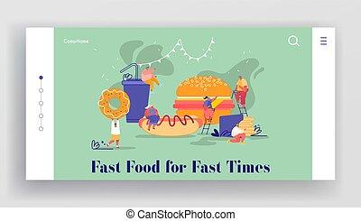 特徴, ドーナツ, 暑い, 人々, fastfood., ソーダ, バーガー, 犬, フランス語, drink., 巨大, 食べること, ウェブサイト, フライド・ポテト