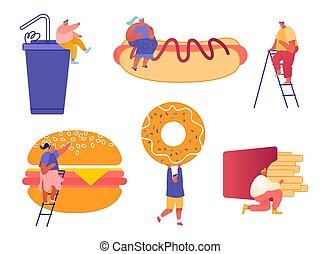 特徴, ドーナツ, 暑い, fastfood., ソーダ, バーガー, セット, フランス語, 飲みなさい, 巨大, 女, 犬, 人, マスタード, フライド・ポテト