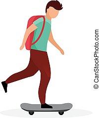 特徴, バックパック, スケート, 子供, 現代, 乗馬, 男生徒, バックグラウンド。, 漫画, skater., skateboarding, 平ら, illustration., 男の子の 子供, ティーンエージャーの, skateboarder, 学校, ベクトル, 楽しい時を 過しなさい, 隔離された, 白