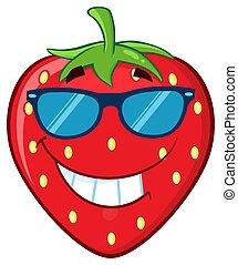 特徴, フルーツ, 漫画, マスコット, 微笑, いちご, サングラス