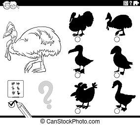特徴, ページ, ゲーム, cassowary, 着色, 影, 本