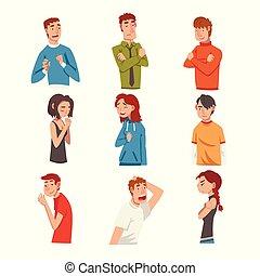 特徴, マレ, 感情, 別, ベクトル, 顔の 表現, イラスト, 女性, セット, 女性, 男性