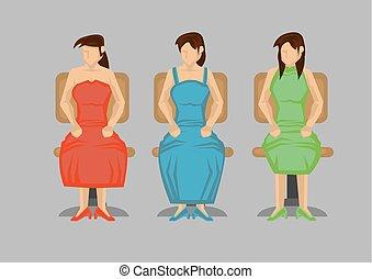 特徴, モデル, 椅子, 漫画, ベクトル, 旋回装置, 女, イラスト