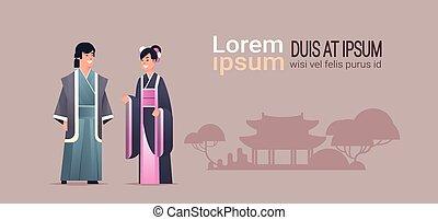 特徴, 中国語, 上に, 日本の女性, 衣装, 地位, 古代, スペース, 身に着けていること, 建物, フルである, 恋人, 塔, 背景, 横, コピー, 人, 一緒に, 伝統的である, 長さ, アジア人, ∥あるいは∥, 衣服