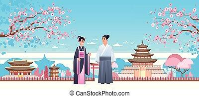 特徴, 中国語, 上に, 日本の女性, 衣装, 風景, 地位, 古代, 身に着けていること, 建物, フルである, 恋人, 塔, 背景, 横, 人, 一緒に, 伝統的である, 長さ, アジア人, ∥あるいは∥, 衣服