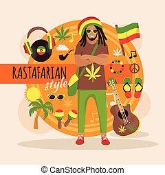 特徴, 人, パック, rastafarian