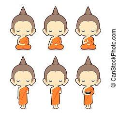 特徴, 仏教, デザイン, 修道士