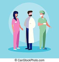 特徴, 外科医, グループ, avatar, 医者