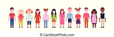 特徴, 女性, 子供, 地位, わずかしか, グループ, 女の子, 混合, 白, 幸せ, 平ら, フルである, 多様性, 男の子, 背景, 横, 旗, 漫画, 一緒に, 長さ, レース, マレ
