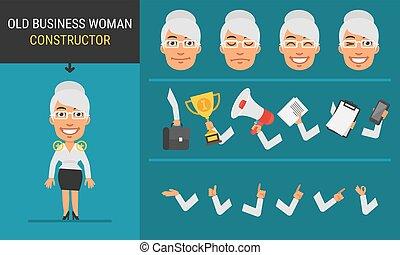 特徴, 女, 古い, ビジネス, コンストラクター