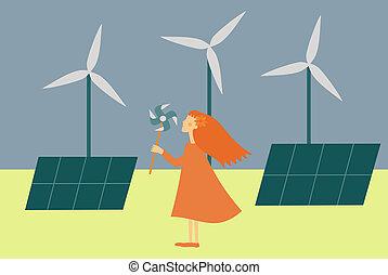 特徴, 女, 緑, イラスト, -, 提示, エネルギー, 力, 風
