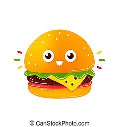 特徴, 幸せ, バーガー, かわいい, 微笑