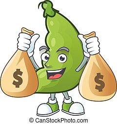 特徴, 幸せ, 2, 豆, 漫画, お金, 広い, 袋