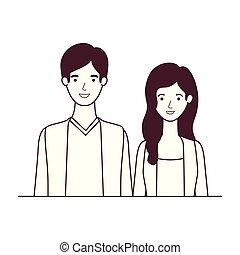 特徴, 恋人, シルエット, 白い背景