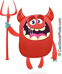 特徴, 悪魔, trident., 赤, イラスト, ベクトル, 面白い, 角, 漫画
