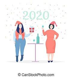 特徴, 新しい, fun., 年, 女性, 祝う, 漫画, 帽子, 2020., 持つこと