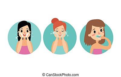 特徴, 歯, 顔, 女性, セット, ブラシをかけること, イラスト, ベクトル, 洗浄