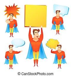 特徴, 泡, スピーチ, superhero, 漫画