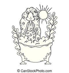 特徴, 浴槽, mermaid, かわいい