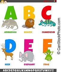 特徴, 漫画, セット, アルファベット, 動物