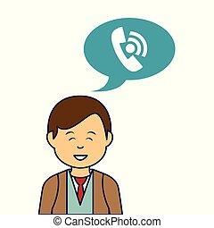 特徴, 若い, スピーチ, avatar, ビジネスマン, 泡