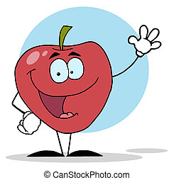 特徴, 赤, 振ること, アップル