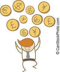 特徴, 通貨, 漫画, 人, 幸せ, 取引, 様々