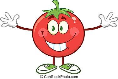 特徴, 開いた, トマト, 腕