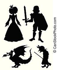 特徴, 騎士, シルエット, 古い, 王女, ドラゴン, 魔女, tales., 剣, 妖精, セット