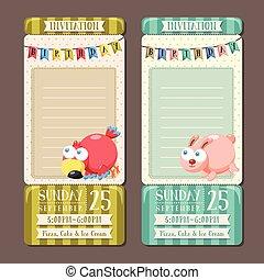 特徴, birthday, 動物, 招待, パーティー, 愛らしい