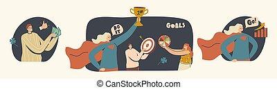 特徴, theme., セット, 成長, あなたの, すべて, 手, リーダーシップ, 成功, 夢, 幼年時代, ゴール, dreams., 具体化しなさい, 技能
