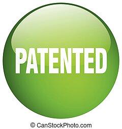 特許を取った, ボタン, 隔離された, 緑, 押し, ラウンド, ゲル