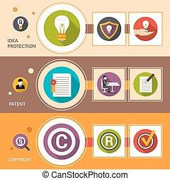 特許, セット, 旗, 考え, 保護