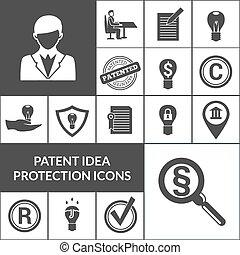 特許, 保護, 黒, 考え, アイコン