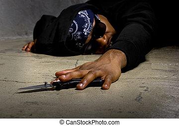 犠牲者, の, ギャング, 暴力, ある, 刺される
