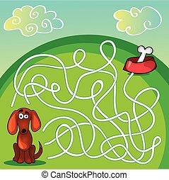 犬, ゲーム, かわいい, 迷路