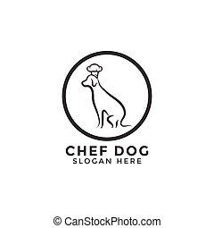 犬, シェフ, ベクトル, デザイン, テンプレート, ロゴ, 線, アイコン