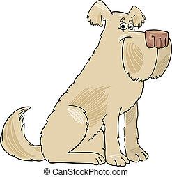 犬, シャギー, 漫画, イラスト, 牧羊犬