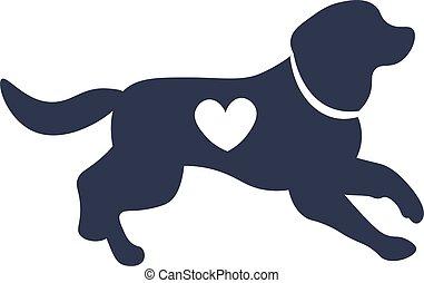 犬, シルエット, 形, 心