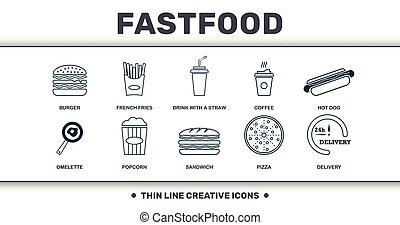 犬, セット, 優れた, fastfood, アイコン, collection., 薄くなりなさい, 飲みなさい, わら, バーガー, 創造的, フライド・ポテト, 暑い, サンドイッチ, フランス語, コーヒー, そのような物, 線, 含む, 要素, ピザ