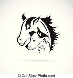 犬, ベクトル, グループ, illustration., editable, -, 隔離された, 馬, バックグラウンド。, 層にされる, 容易である, ねこ, 白, アイコン, logo., ∥あるいは∥, ペット