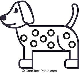 犬, ベクトル, ストローク, editable, イラスト, 印, 背景, アイコン, 線, ダルマチア語