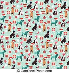 犬, ボール, パターン, 贈り物, ベクトル, 背景, クリスマス, bullfinch