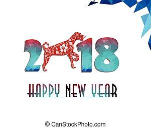 犬, 中国語,  2018, 年, 新しい, カード, 幸せ