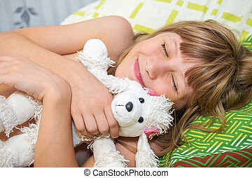 犬, 女の子, おもちゃ, 睡眠